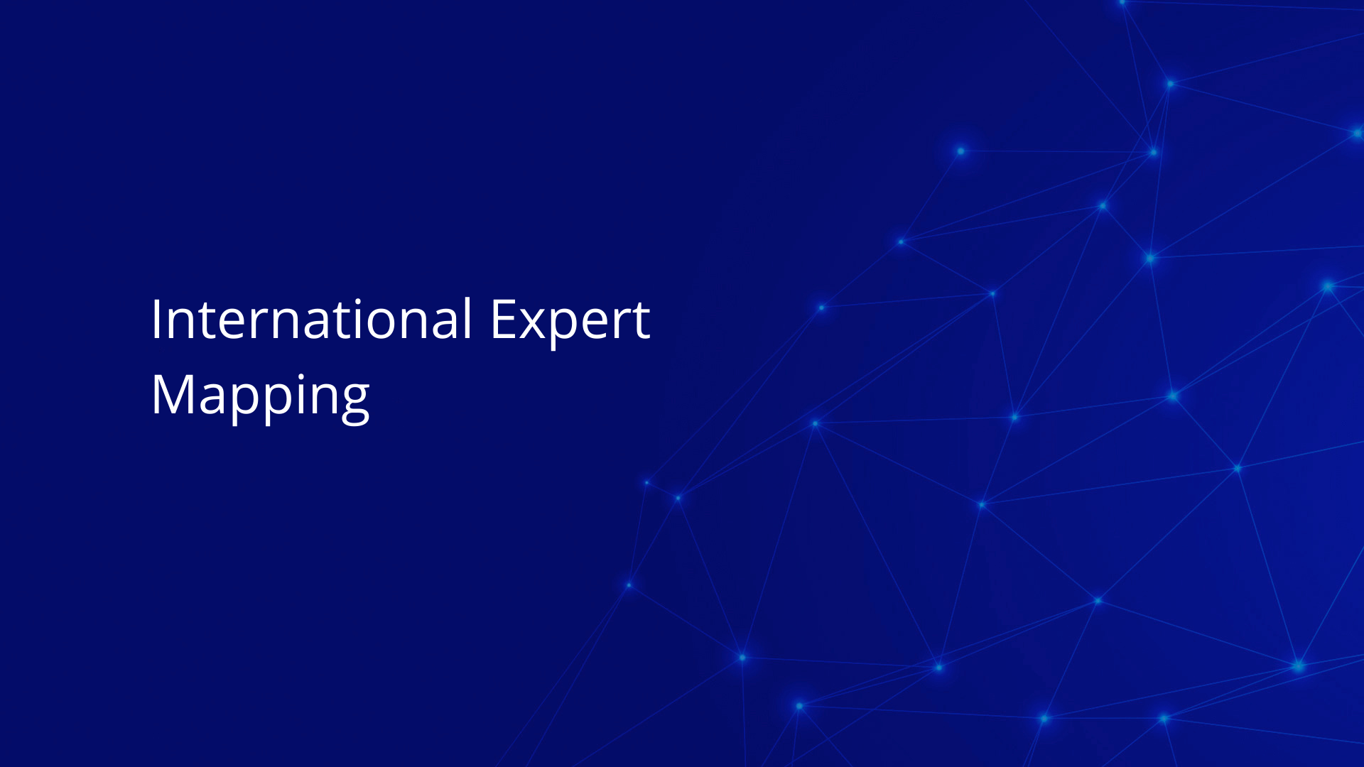 International Expert Mapping on white text on blue background