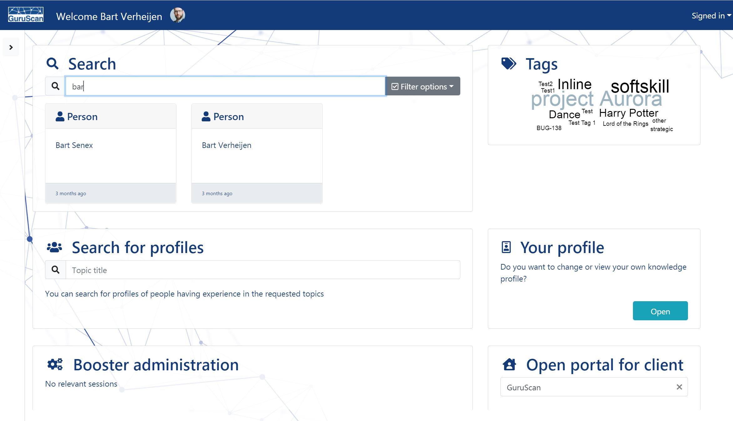 Dashboard of the GuruScan application