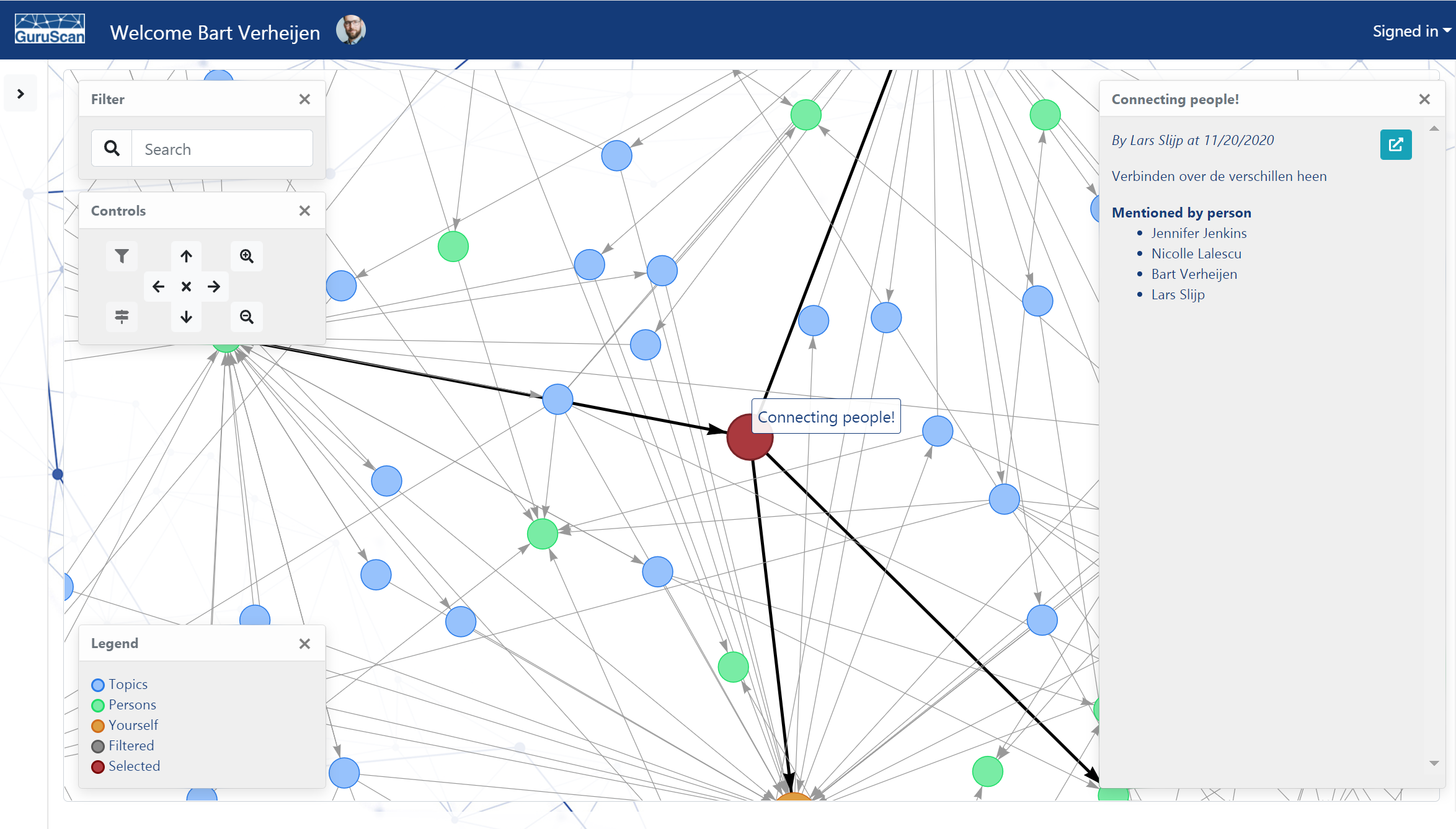 GuruScan application showing knowledge network graph
